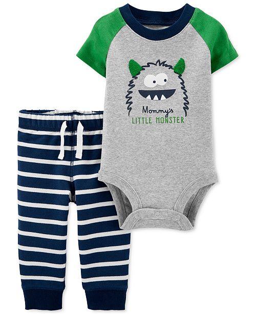 Carter's Baby Boys 2-Pc. Cotton Monster Bodysuit & Striped Pants Set