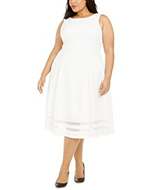 Plus Size Illusion Fit & Flare Dress