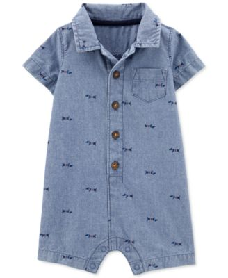Baby Boys Dog-Print Chambray Cotton Romper
