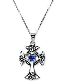 """Cubic Zirconia Center Celtic Cross 18"""" Pendant Necklace in Sterling Silver"""