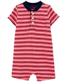 Baby Boys Striped Henley-Neck Textured Cotton Romper