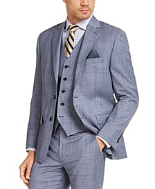 Men's Classic-Fit UltraFlex Stretch Light Blue Plaid Suit Jacket