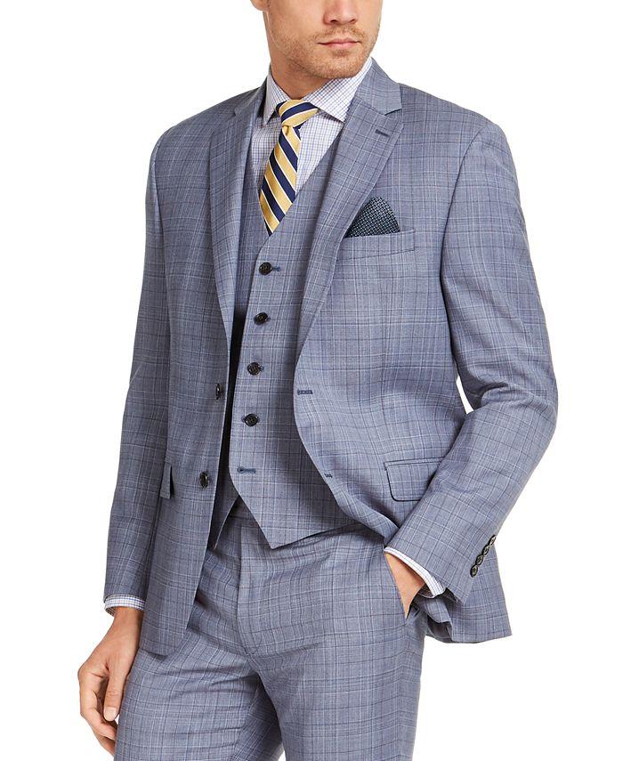 Lauren Ralph Lauren - Men's Classic-Fit UltraFlex Stretch Light Blue Plaid Suit Jacket