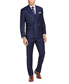 Men's Classic-Fit UltraFlex Stretch Navy Blue Stripe Suit Separates