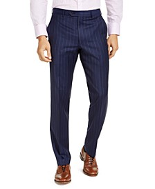 Men's Classic-Fit UltraFlex Stretch Navy Blue Stripe Suit Pants