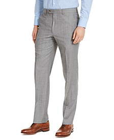 Men's Classic-Fit UltraFlex Stretch Light Gray Sharkskin Suit Pants