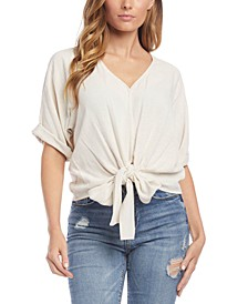 Cuffed-Sleeve Tie-Hem Top