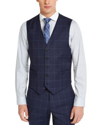 Men's Classic-Fit TH Flex Stretch Navy Blue Windowpane Suit Vest