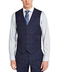Men's Classic-Fit TH Flex Stretch Navy Blue Windowpane Suit Vest
