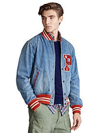 Men's Denim Letterman Jacket