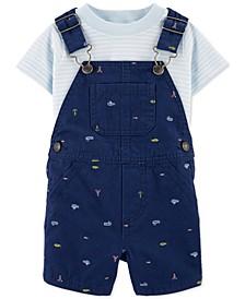 Baby Boys 2-Pc. Striped T-Shirt & Nautical-Print Shortalls Cotton Set