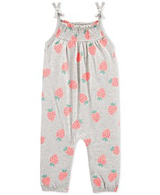 Baby Girls Strawberry-Print Cotton Jumpsuit