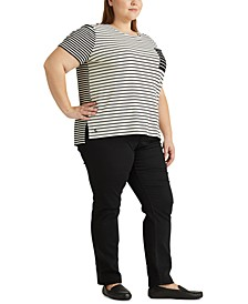 Plus-Size Striped Cotton-Blend T-Shirt