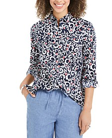 Petite Floral-Print Linen-Blend Utility Shirt, Created for Macy's