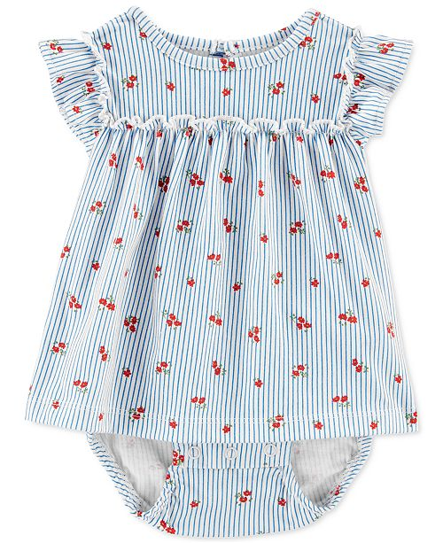 Carter's Baby Girls Striped Floral-Print Cotton Sunsuit