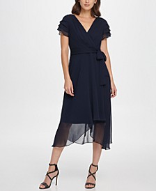 Triple Layer Sleeve V-Neck Wrap Midi