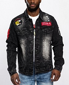 Men's Leopard Applique Patch Denim Jacket