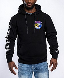 Men's Front and Back Leopard Applique Patch Fleece Pullover Hoodie