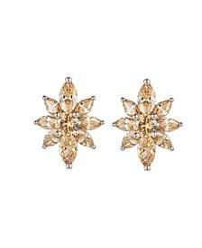 Silver-Tone Champagne Flower Cluster Earrings
