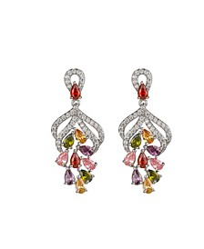 Silver-Tone Multicolor Cluster Earrings