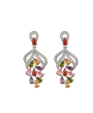 A & M Silver-Tone Multicolor Cluster Earrings