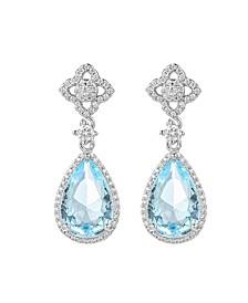 Silver-Tone Blue Topaz Tear Drop Earrings