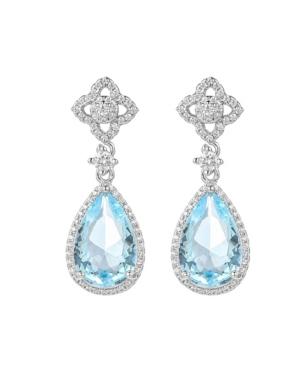 A & M Silver-Tone Blue Topaz Tear Drop Earrings