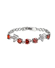 Silver-Tone Garnet Accent Tennis Bracelet