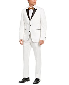 Men's Slim-Fit Stretch White Peak-Lapel Tuxedo