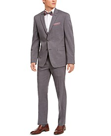 Men's Slim-Fit Stretch Gray Plaid Suit