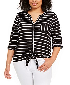 Plus Size Tie-Front Top, Created for Macy's