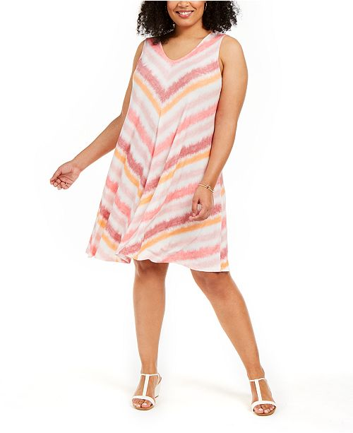 Style & Co Plus Size Crossback-Strap Swing Dress, Created for Macy's