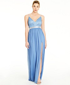 Juniors' Lace & Chiffon Gown, Created for Macy's