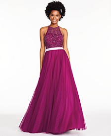 Juniors' Embroidered Tulle Gown