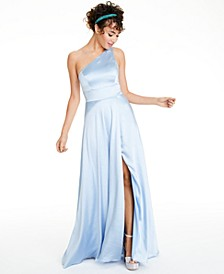 Juniors' One-Shoulder Satin Gown