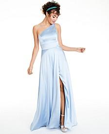 Juniors' One-Shoulder Satin Gown