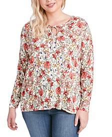 Trendy Plus Size Dee Dee Printed Tie-Neck Top