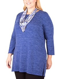 Plus Size Scarf-Embellished 3/4-Sleeve Top