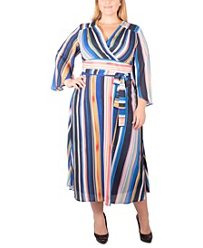 Plus Size Striped Belted Wrap Dress