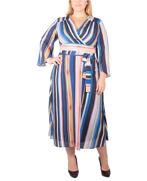 NY Collection Plus Size Striped Belted Wrap Dress