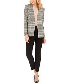 Plaid Blazer, Crewneck Top & Straight-Leg Dress Pants