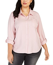Plus Size Button-Down Shirt, Created For Macy's