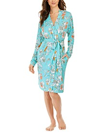 Floral-Print French Terry Short Wrap Robe