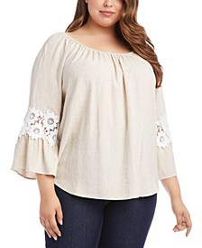 Plus Size Lace-Sleeve Peasant Top