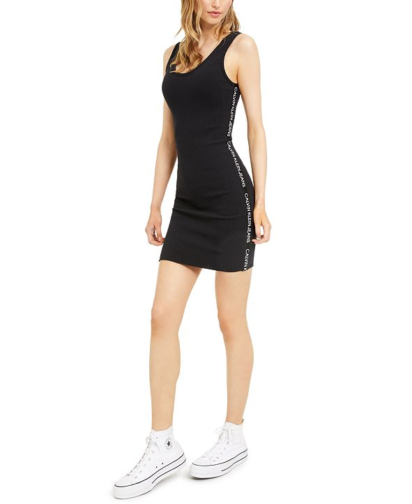 Calvin Klein Jeans Ribbed Graphic Bodycon Dress