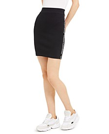 Ribbed Graphic Pencil Skirt