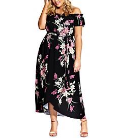 Trendy Plus Size Off-The-Shoulder Floral Maxi Dress