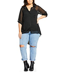 Trendy Plus Size High-Low Shirt