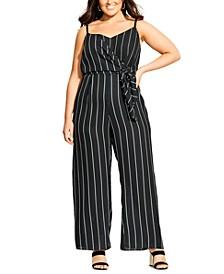 Trendy Plus Size Striped Wide-Leg Jumpsuit