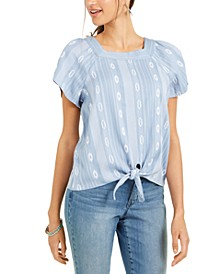 Printed Square-Neck Tie-Front Top, Created for Macy's